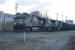 NS import coal train 72W heads out of Andrews Yard and heads south (west) toward Augusta