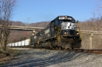 "NS 2521 forms the lead of this ""Silver Snake"" coal drag"