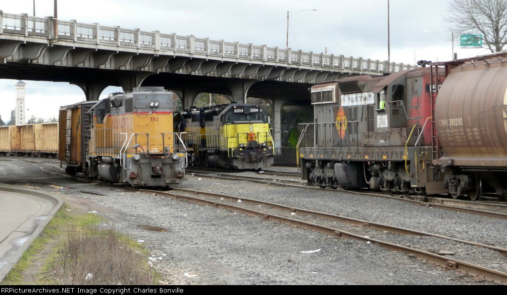 Three Trains on the North End of Albany Yard