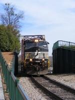 NS 9012 exits the Savannah River Bridge