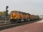 BNSF 8949 & 9940 roll east with 616's coal loads