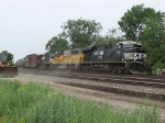 NS 7631 brings 14E eastward past trackworkers