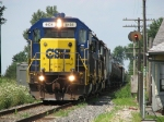 J726 rests for a moment next the the signal and old Monon depot