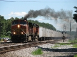 BNSF 4571 does its best steam locomotive impression as 255 starts west again