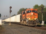 BNSF 5848 leads 416 east through the old NYC signals