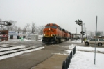 BNSF 7637 leads a Z train out of Clyde