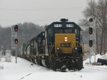 With Y103 onboard, Q335 splits the eastbound signals at Seymour as it blazes a fresh trail down Track 1