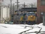 CSX 812 & 7366 being serviced behind the house