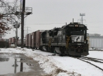 NS 3538 & 3542 leading 36E past the south switch to the Fisher Body yard