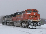 Snow encrusts BNSF 9353 & 9574 as they wait on 2 Track near the west end