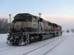 BNSF 9574 & 9353 wait to head west as D801