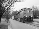BNSF 7544 Street Running in Black & White