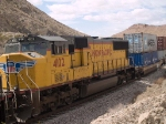 UP 4102 #4 power in an EB doublestack (ILBNO - Long Beach - New Orleans) at 12:17pm