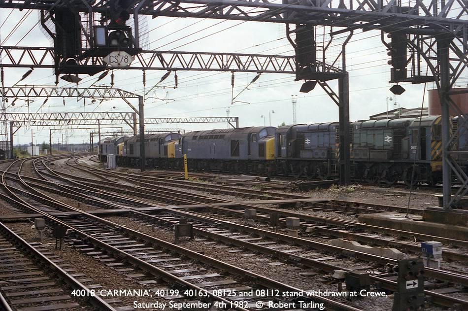 40018 'CARMANIA', 40199, 40163, 08125 and 08112 all withdrawn at Crewe.