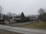 NS 9132, an EMD SD, and a sister GE pass through Rathbone NY