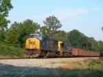CSX 4569 pulling HERZOG ballast cars