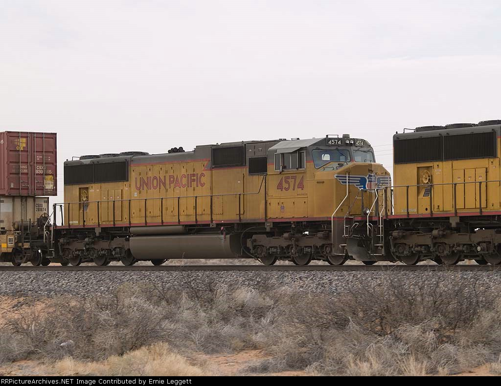 UP 4574 #3 power in a WB doublestack at 11:59pm