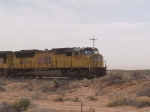 UP 3957 leads a WB doublestack at 11:44am