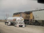UP 6079 #1 DPU in a WB grain train at 4:35pm