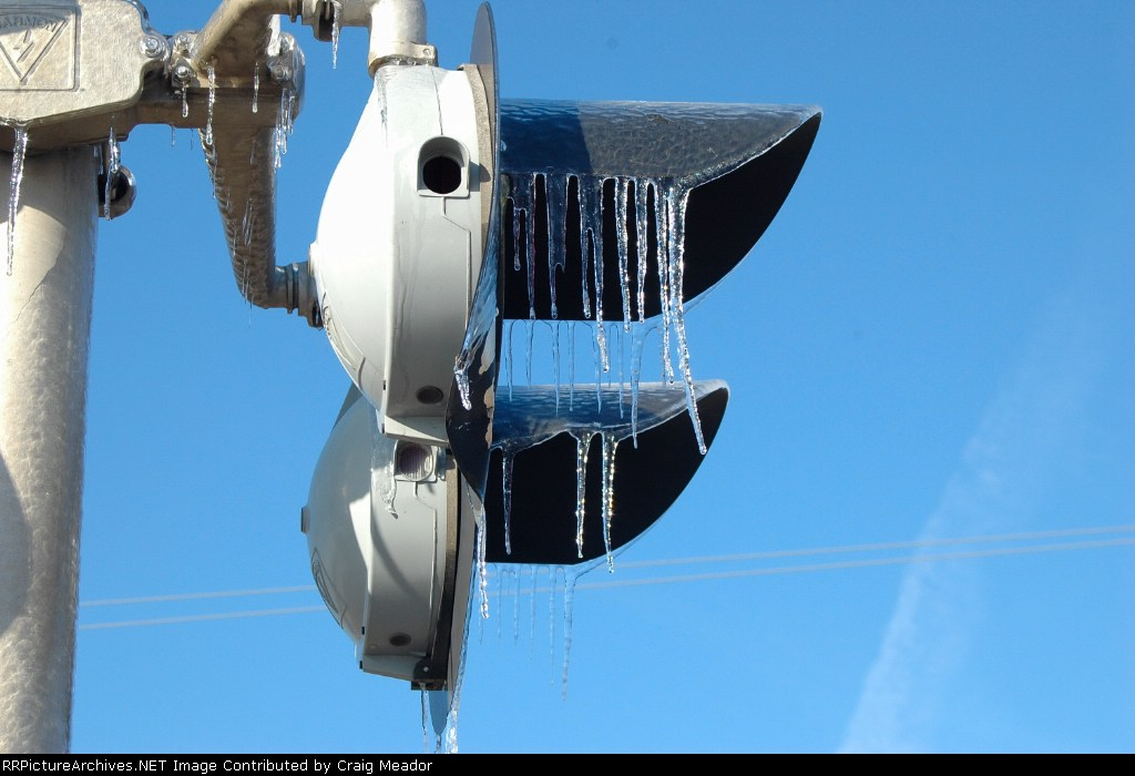 Icicles hang from the warning equipment.
