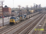 CSX 156 leads southbound coal train