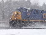 CSX 5268 westbound through CP 382 in a heavy snowstorm