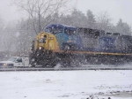 CSX AC44CW #9 WB at CP 382 in an early December blizzard