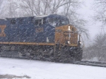CSX 5293 eastbound at CP382 in a heavy snowstorm