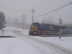 CSX 716 crosses Attridge Rd in a snowstorm