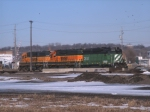 3 BNSF Switchers Sit In The BNSF Yard