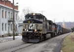 NS 9347 pulls a load of coal right up the street