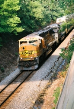 West bound Norfolk Southern with BNSF 9860 in lead.