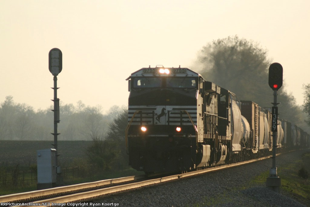 NS 9755 leads an East bound as the day fades away