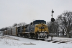 EB CSX 7883 passes by the old signal at Olney, Il..