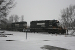West bound NS 6122 and NS 6172 at Albion, Il.. The local.