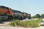UP 6537, 6825, ICE 6448, and BNSF 5265. An odd consist to see here