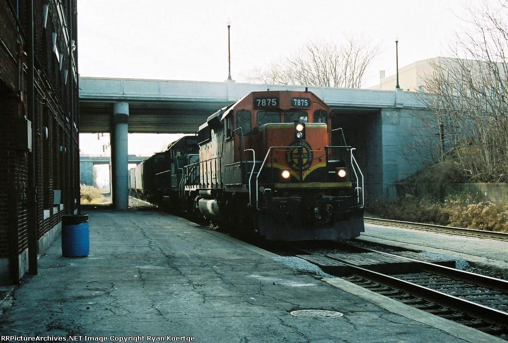 NB BNSF 7875 passes old IC depot