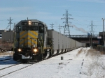 1166 slowly rolls south with Z144 leading 130 empties from Essexville
