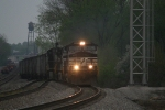 NS 9083 leads Top Gon coal train through the yard