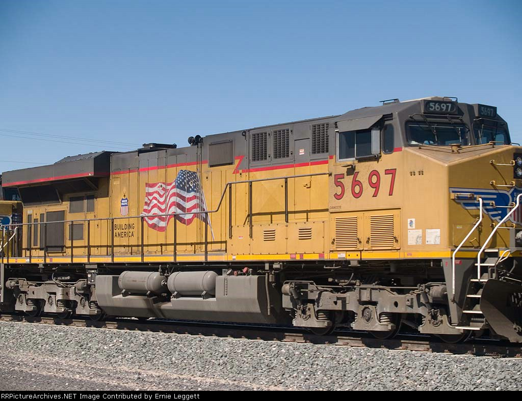 UP 5697 #2 power in an EB manifest at 1:24pm