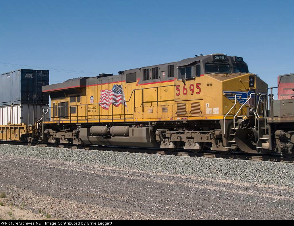 UP 5695 #5 power in an EB manifest at 1:24pm