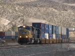 UP 3854 leads a WB doublestack at 1:23pm