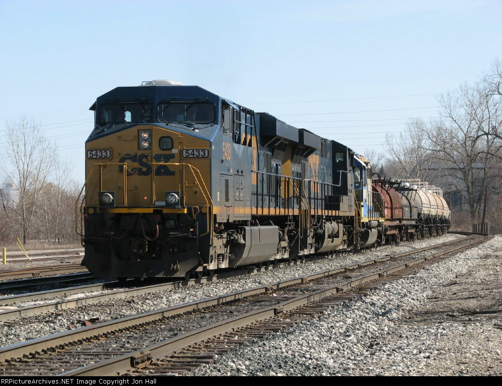 CSX 5433 is doing all the work as it leads Q335-29 into the yard
