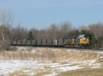 CSX 725 & 111 work hard as they lift N913-04 out of the river valley