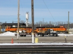 BNSF 6236 & 5887 wait among the MOW equipment around the shop
