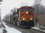 BNSF 6105 & 9707 rolling past milepost 8 with N956-11