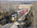 CSX 8586 & 9017 and two GeeP's from Lansing head west with Q327-14