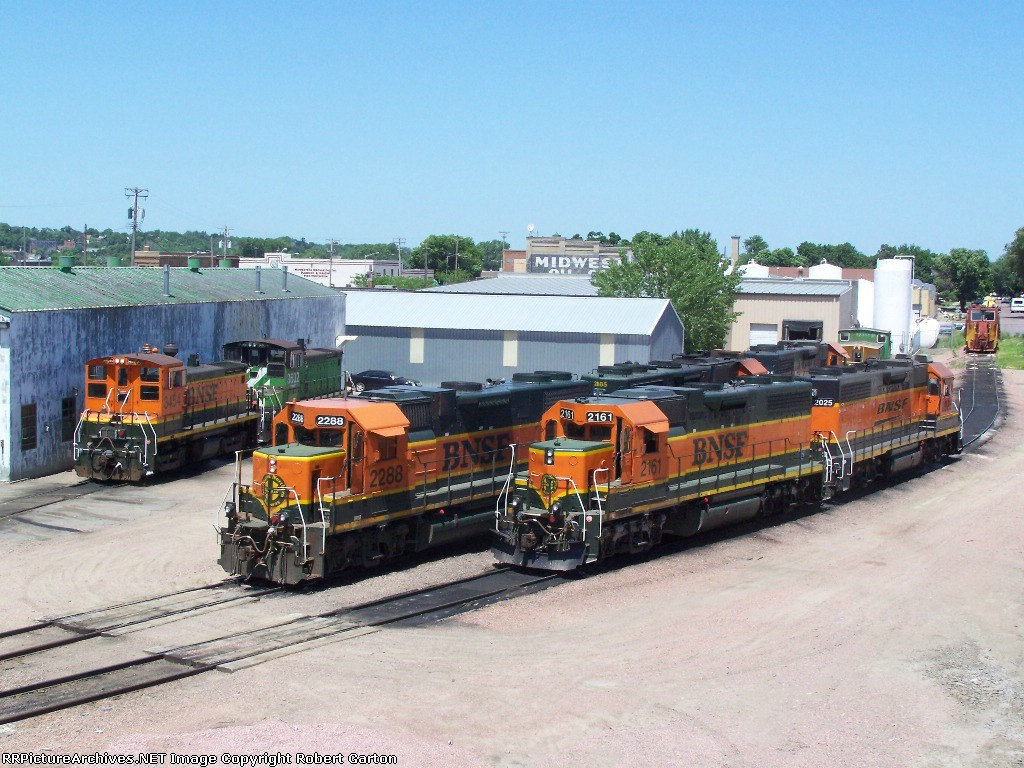 Geeps, Switchers, a Caboose and a Snow Plow Adorn the BNSF Yard
