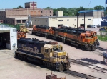 Geeps, Switchers, a Caboose, a Snow Plow and a Scale Test Car Rest in the BNSF Yard