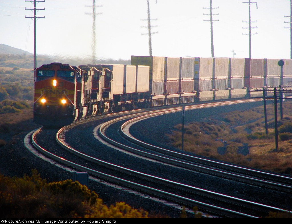 BNSF Dash 9's Rounding the Curve by the Monolith